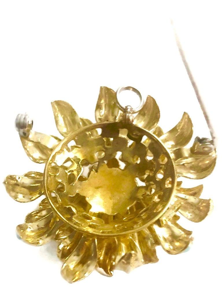 Retro 18 Karat Gold Aqua Enameled Handmade Flower, Zinnia Brooch with Loop for Pendant For Sale