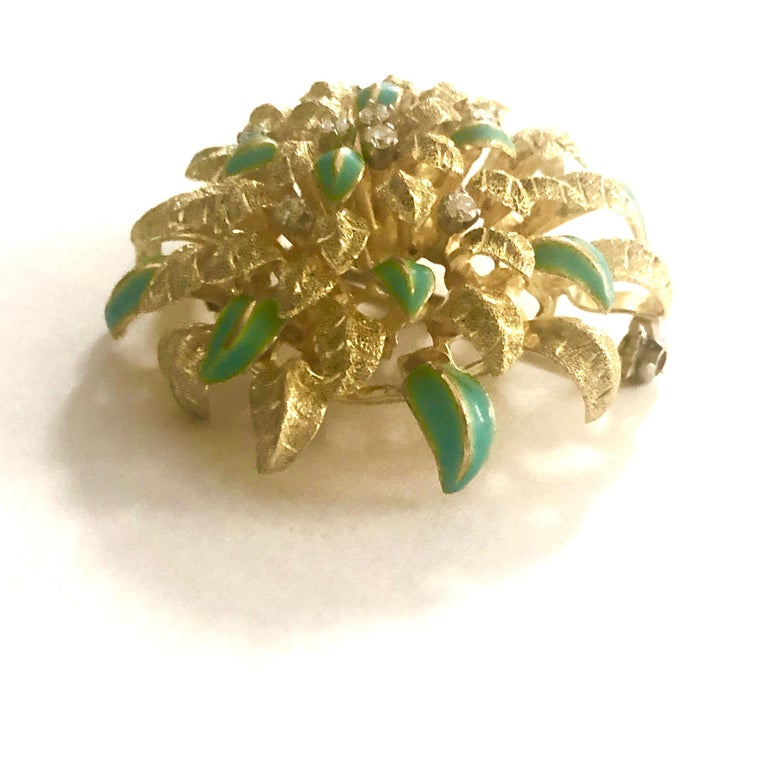 18 Karat Gold Aqua Enameled Handmade Flower, Zinnia Brooch with Loop for Pendant In Excellent Condition For Sale In New York, NY