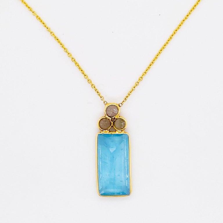 Artisan 18k Gold Aquamarine and Rough Diamond Necklace, Original, Genuine Fine Jewelry For Sale