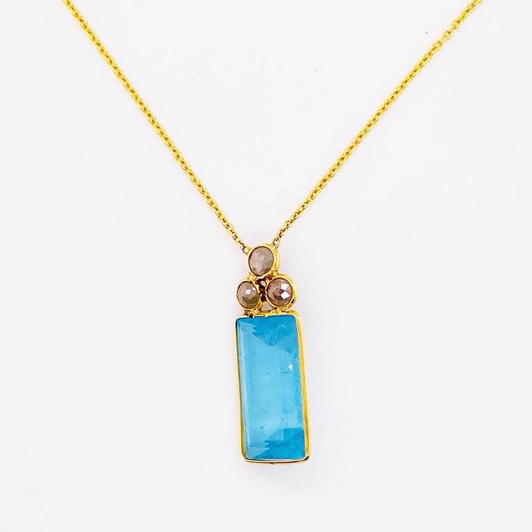 Emerald Cut 18k Gold Aquamarine and Rough Diamond Necklace, Original, Genuine Fine Jewelry For Sale