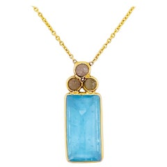 18k Gold Aquamarine and Rough Diamond Necklace, Original, Genuine Fine Jewelry
