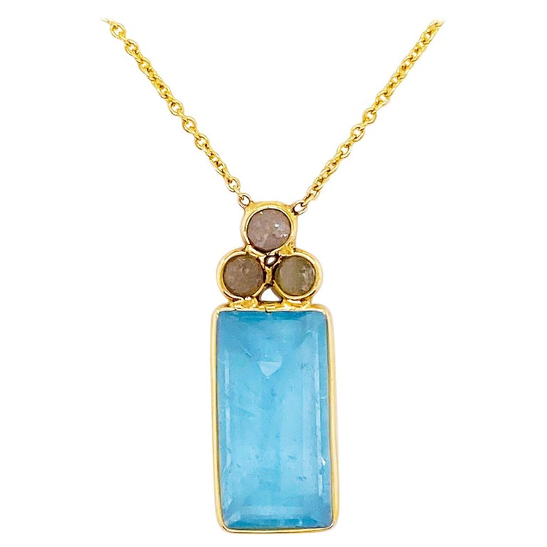 18k Gold Aquamarine and Rough Diamond Necklace, Original, Genuine Fine Jewelry For Sale