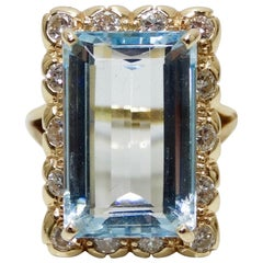 Aquamarine & Diamond Victorian Baguette Ring