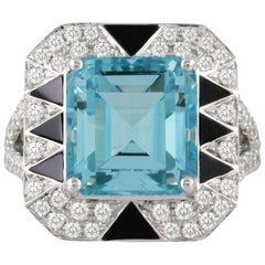 18k Gold Art Deco Style  Cocktail Ring 6.58ct Aquamarine Black Onyx Diamonds