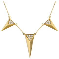 18K Gold Art Deco Dagger Necklace with Triangle Pyramid Pavé Diamond Stations