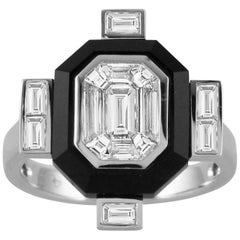 18K Gold Art-Deco Invisible-Set Baguette Emerald Diamond Ring with Black Onyx