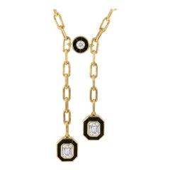 18K Gold Art-Deco Invisible-Set Emerald Diamond Lariat Necklace with Black Onyx