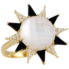 18K Gold Art Deco Style Ring Rock Crystal Quartz, Onyx and Diamonds