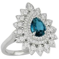 18K Gold Art Deco Style Pear Shape Cocktail Ring w/London Blue Topaz & Diamonds