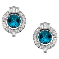 18K Gold Art Deco Style Stud Earrings with London Blue Topaz & Baguette Diamonds
