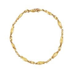18k Gold Art Nouveau Tulip Flower Link Bracelet by Georg Jensen, 1960s