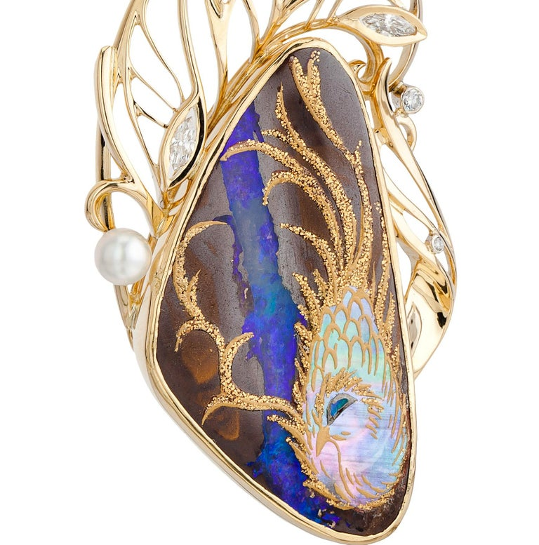 Contemporary 18K Gold Art Opal Pendant Brooch with Japanese Gold Painting Technology For Sale