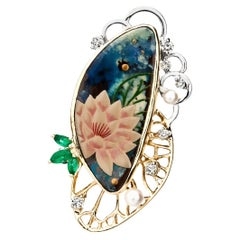 18k Gold Art Opal Pendant Brooch with Japanese Gold Painting Technology