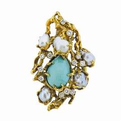 18k Gold Arthur King Mid Century Lapis Turquoise VS Diamond Brooch Pendant Pin