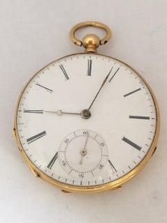 18 Karat Gold Beautifully Engraved Case Antique Key-Wind Pocket Watch