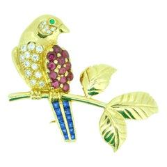 18k Gold Bird on Branch Pin w/ Genuine Natural Rubies Sapphires Diamonds #J4361