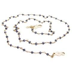 18K Gold Black Diamond Bead Necklace by Christopher Phelan Fine Jewelry
