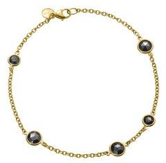 18 Karat Gold Black Rose Cut Diamond Bracelet