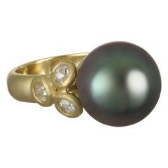 18 Karat Gold Black Tahitian Pearl and Diamond Ring