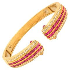 18k Gold Bracelet with 3 Carats of Rubies