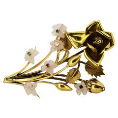 18 Karat Gold Brooch with Chalcedony Flowers, Diamonds, Rubies and Emeralds