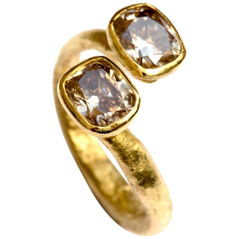 3a2992161b1af 18k Gold Brown Diamond Ring - Double Diamond Open Ring