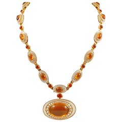 18k Gold Cabochon Citrine, Diamond and Rock Crystal Sautoir Necklace/Bracelet