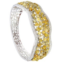 24.83 Carat Fancy Canary Diamond 18 Karat Gold Bangle Bracelet