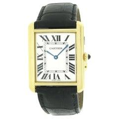 18k Gold Cartier Tank Solo Silver Roman Rectangular Quartz Watch 2742 BOX PAPERS
