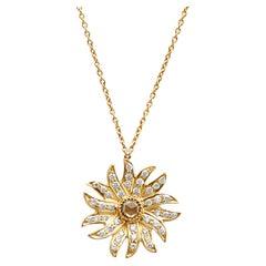 18k Gold Champagne Diamond Sun Flame Pendant