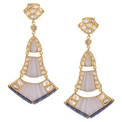18k Gold Chandelier Earrings with Diamonds, Carved Chalcedony and Sapphire Beads
