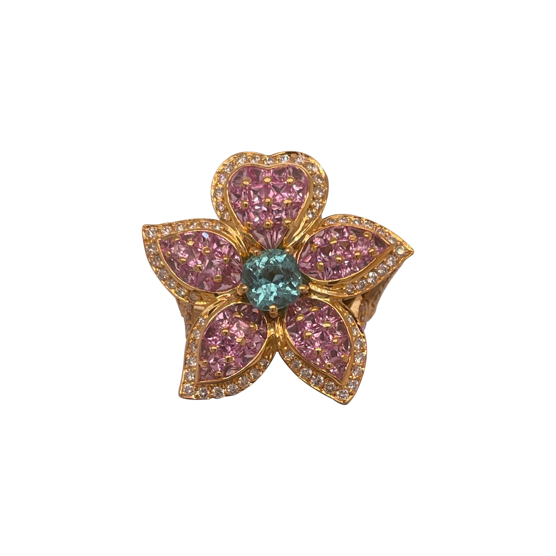 "18K Gold ""Chanel"" Like 7.6 Carat Pink Sapphire, Diamond and Pariba Flower Ring"