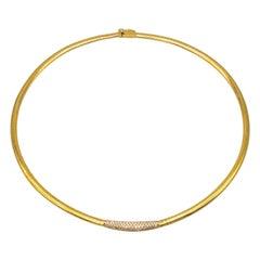 18k Gold Choker Necklace Oméga Mesh Set with One Paving Diamonds