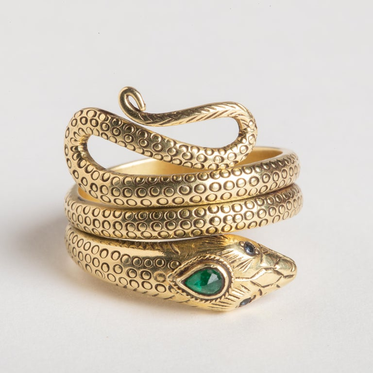 Pear Cut 18 Karat Gold Coiled Snake Ring with Emerald and Sapphires
