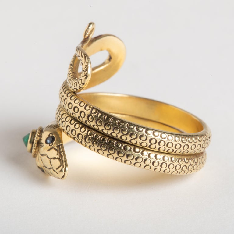 18 Karat Gold Coiled Snake Ring with Emerald and Sapphires In Excellent Condition In Nantucket, MA