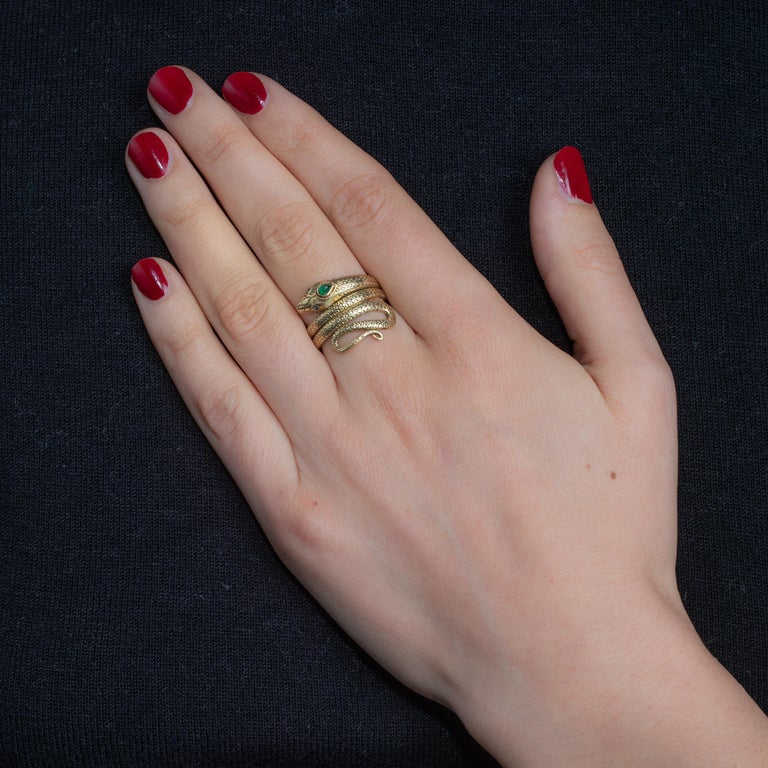 Women's or Men's 18 Karat Gold Coiled Snake Ring with Emerald and Sapphires
