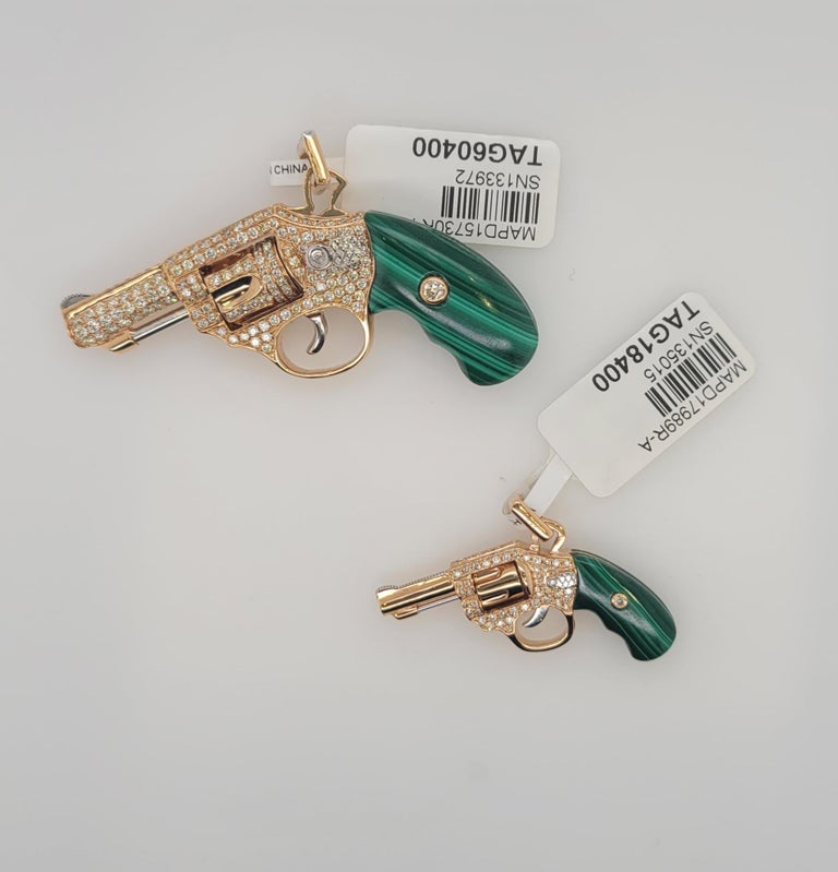It's one of a kind Cufflinks. All parts are moving like a real gun. Enjoy the unique and special piece. In 18K Rose Gold engraved with F color Diamonds and Malachite natural healing stone.   Malachite is a stone of balance, abundance, manifestation