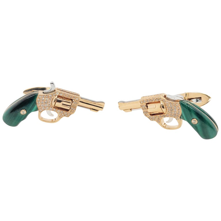 18K Gold Cufflinks with Diamonds and Malachite, Exquisite Master Craftsmanship For Sale