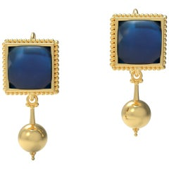 18 Karat Gold Dangle Earrings by Romae Jewelry Inspired by Ancient Roman Designs