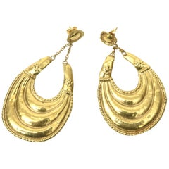 18 Karat Gold Dangle Pierced Earrings Italian Vintage