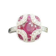 18k Gold Deco Style 1.28ct Genuine Natural Ruby Ring with Diamonds '#J2355'
