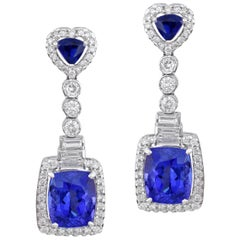 11.68 Carat Tanzanite Diamond 18k Gold Dangler Earrings