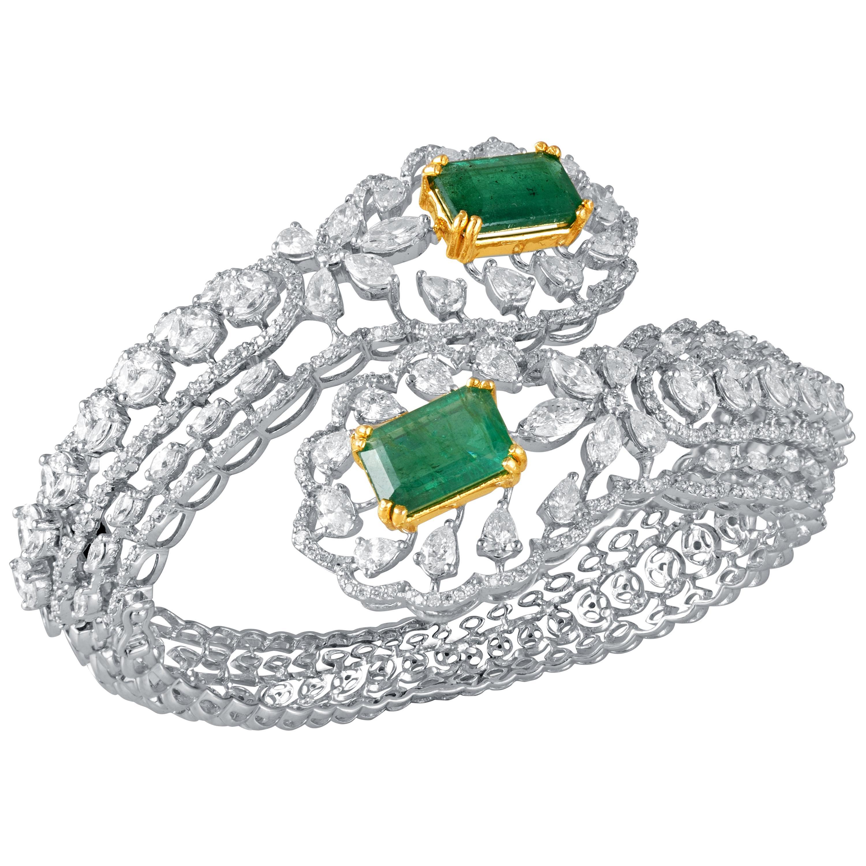 Diamond Emerald 18k Gold Cuff Bracelet