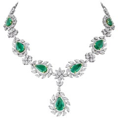 18 Karat Gold Diamond and Zambian Emerald Necklace with Earrings