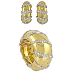 1980s Large Domed Diamond Gold Bangle And Matching Earclips