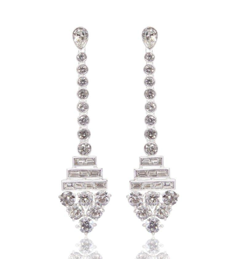 Elegant pair of Earrings  embellished with 2 pieces of Pear Cut White Diamonds weighing 0.61 carats, 18 pieces of Baguette Cut White Diamonds weighing 0.83 carats, 28 pieces of Round Cut White Diamonds weighing 3.91 carats. These beautiful earrings
