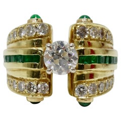 18k Gold Diamond & Emerald 1930s Cocktail Ring