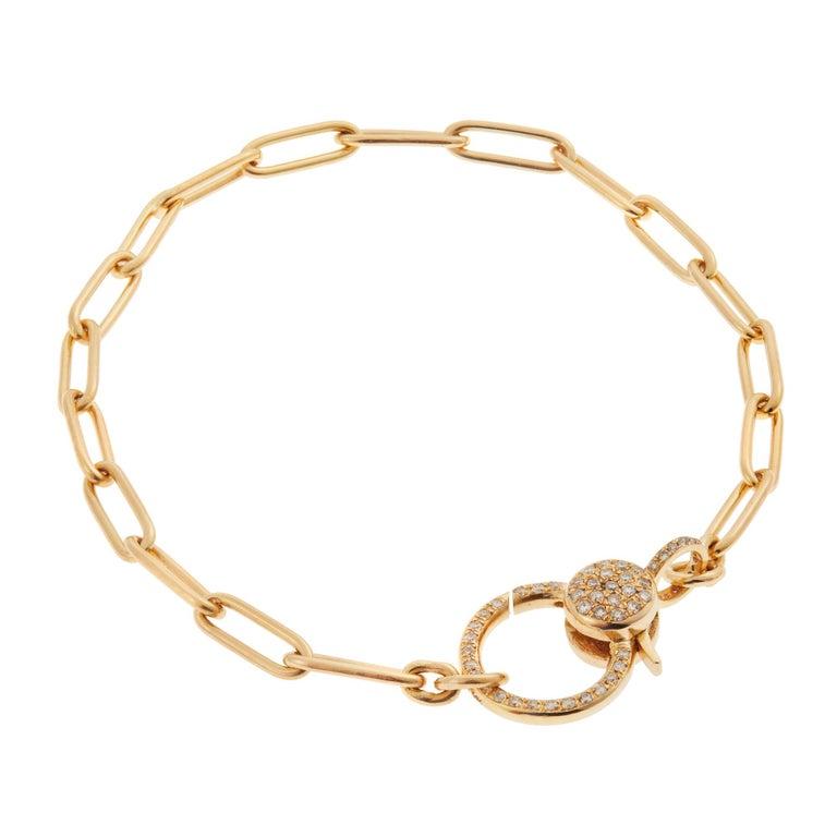 Round Cut 18k Gold & Diamond Evil Eye Heart Bracelet For Sale