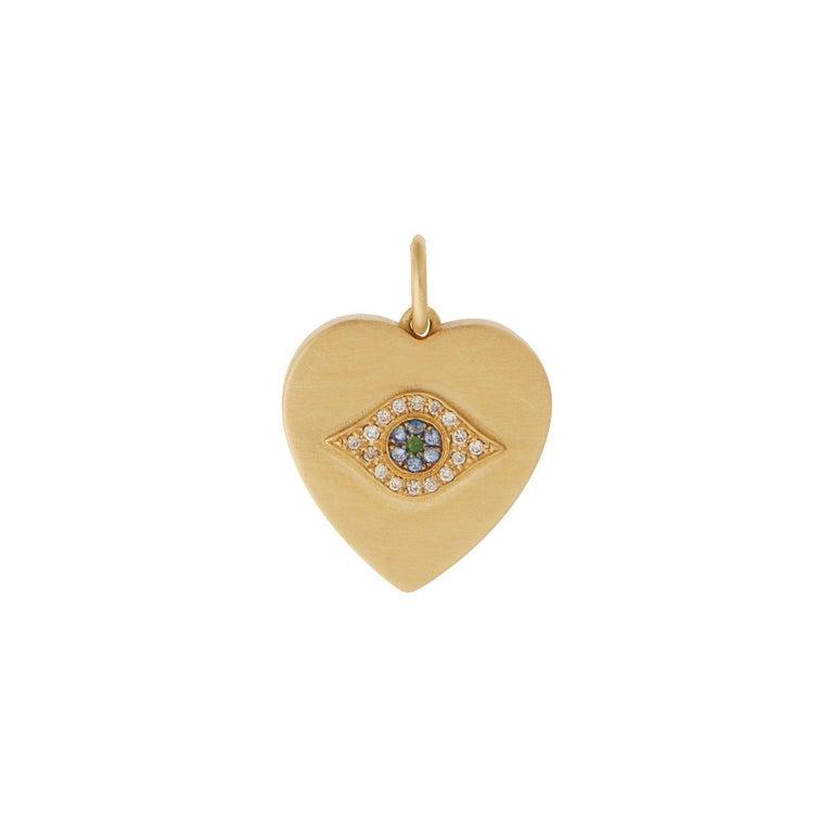 Women's 18k Gold & Diamond Evil Eye Heart Bracelet For Sale