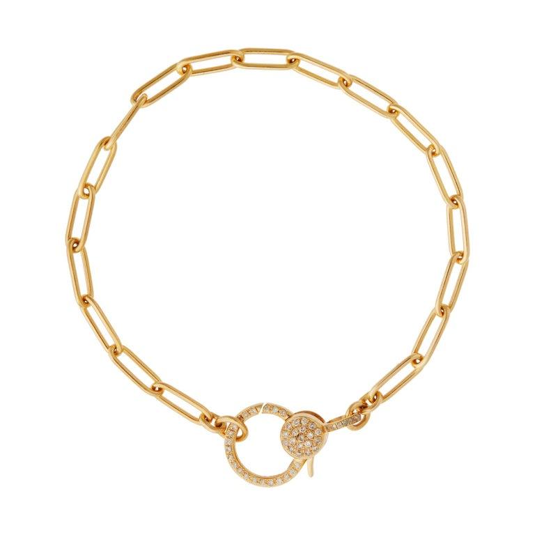 18k Gold & Diamond Evil Eye Heart Bracelet For Sale 2